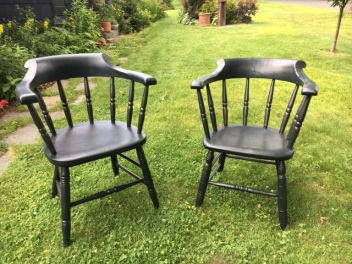 Pair of Black Wooden Chairs with Armrests