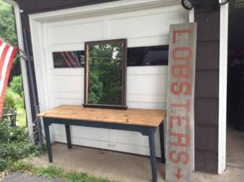 Copper edge mirror, farm table and Lobster sign