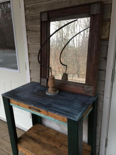 Copper topped table and mirror made with old molding