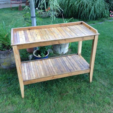 Plain Potting bench made with tobacco drying sticks