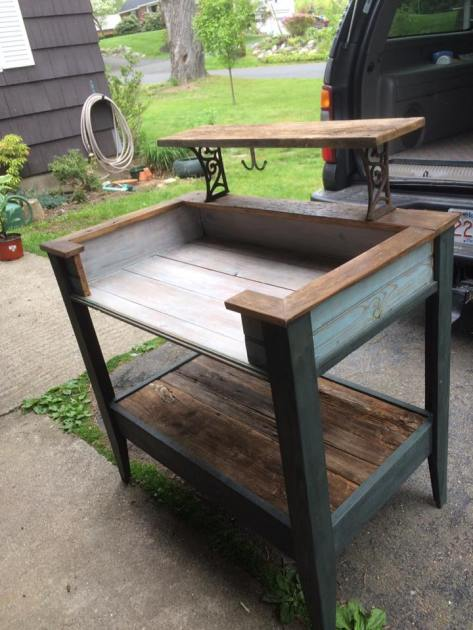Potting Bench Made from Old Barn Board
