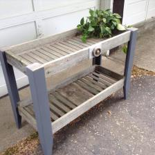 Potting bench made with old barn board