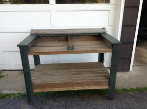 Potting bench made with old tobacco drying sticks